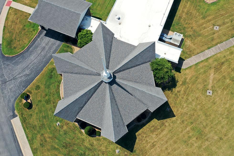 church aerial shot