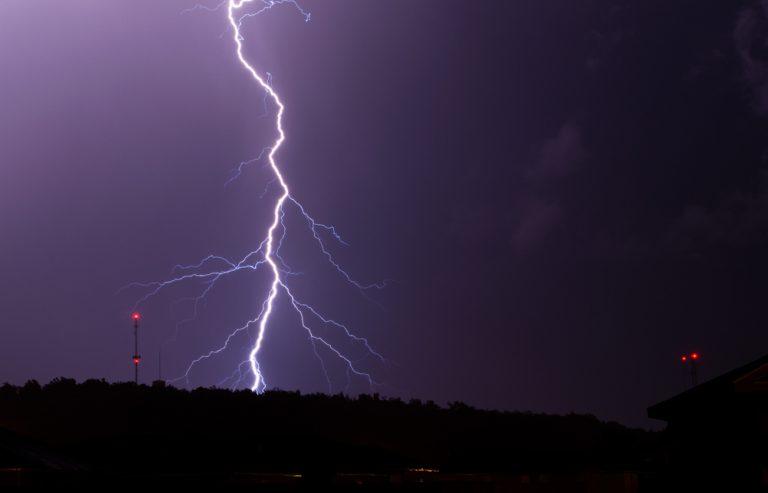 Lightning strike in a city
