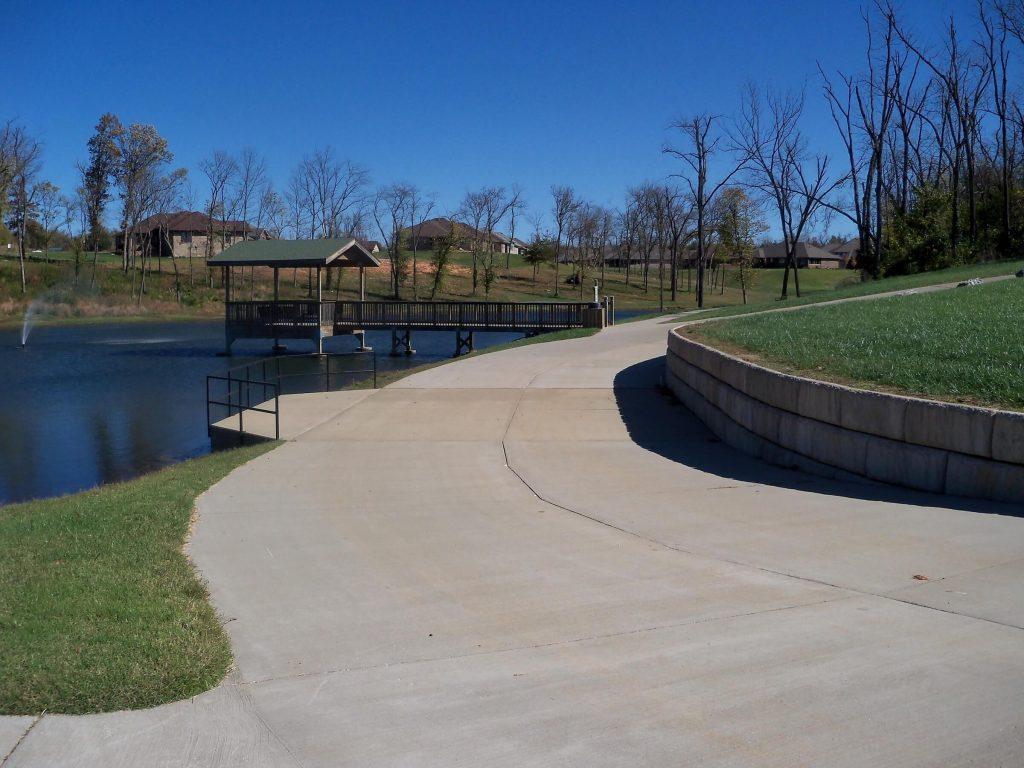 Lake and dock at Maratha Village in Springfield Missouri